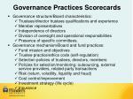 governance practices scorecards