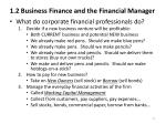 1 2 business finance and the financial manager