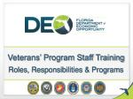 veterans program staff training roles responsibilities programs
