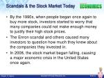 scandals the stock market today