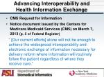 advancing interoperability and health information exchange
