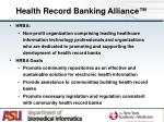 health record banking alliance