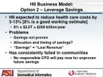 hii business model option 2 leverage savings
