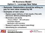 hii business model option 3 leverage new value