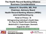 the health record banking alliance business considerations