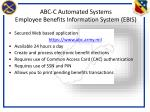 abc c automated systems employee benefits information system ebis