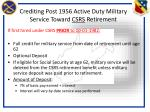 crediting post 1956 active duty military service toward csrs retirement