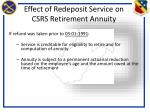 effect of redeposit service on csrs retirement annuity
