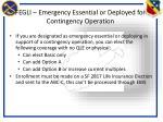 fegli emergency essential or deployed for contingency operation