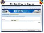 my biz how to access2