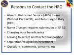 reasons to contact the hro