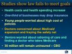 studies show law fails to meet goals