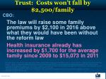 trust costs won t fall by 2 500 family