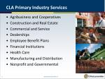 cla primary industry services