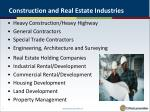 construction and real estate industries