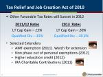 tax relief and job creation act of 20102