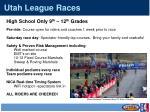 utah league races
