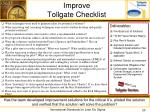 improve tollgate checklist