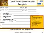 quick win documentation template
