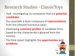 research studies classictoys