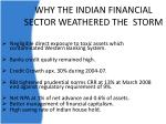 why the indian financial sector weathered the storm