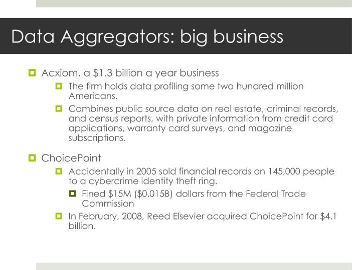 Data Aggregators: big business