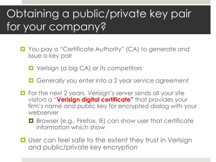Obtaining a public/private key pair for your company?