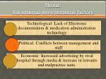 threat six external environmental factors