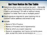 get your notice on the table