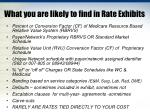 what you are likely to find in rate exhibits