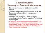 course evaluation summary on co curricular events