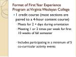 format of first year experience program at virginia wesleyan college
