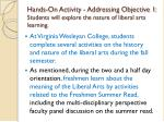 hands on activity addressing objective 1 students will explore the nature of liberal arts learning