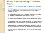 hands on activity linking fye to paired course1