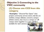 objective 2 connecting to the vwc community