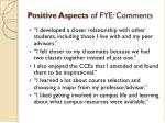 positive aspects of fye comments