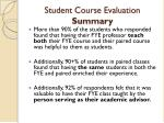 student course evaluation summary