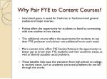 why pair fye to content courses