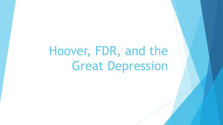 hoover fdr and the great depression n.