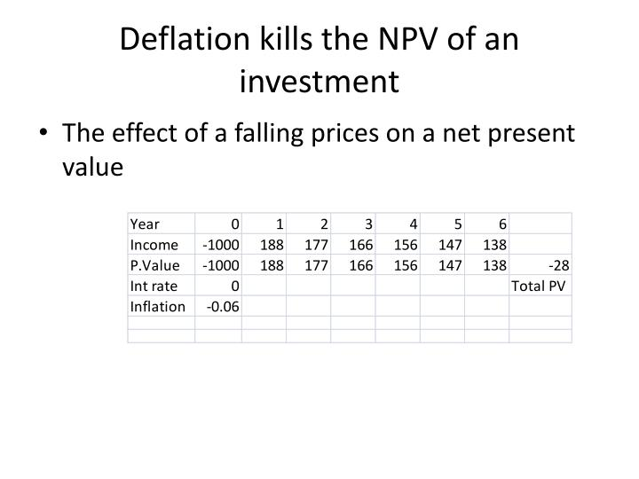 Deflation kills the NPV of an investment