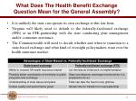 what does the health benefit exchange question mean for the general assembly