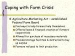 coping with farm crisis