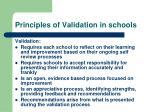 principles of validation in schools