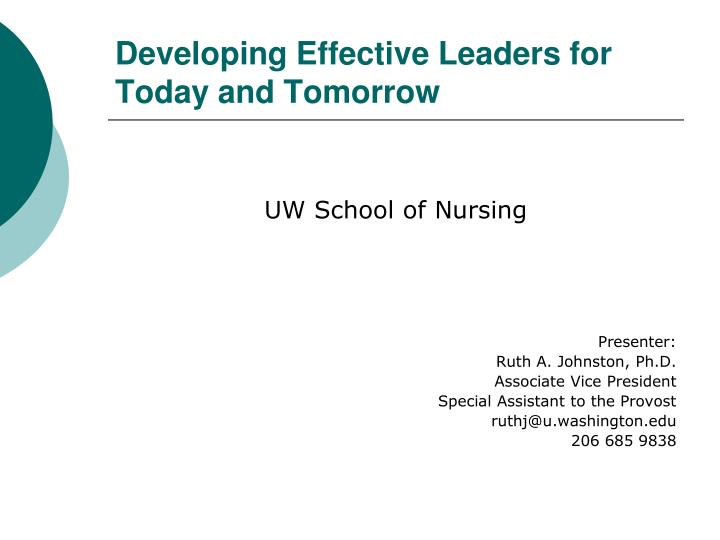 developing effective leaders for today and tomorrow n.