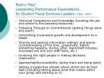 ruth s key leadership performance expectations for student fiscal services leaders 1999 2007