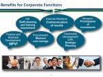 benefits for corporate functions