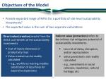 objectives of the model