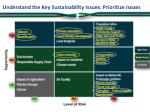 understand the key sustainability issues prioritize issues