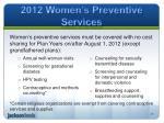 2012 women s preventive services