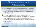 minimum value and affordability